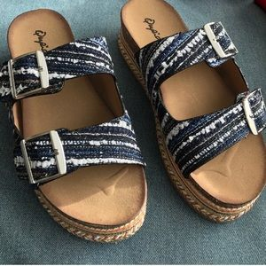 Shoes - Denim multi-color platform sandal